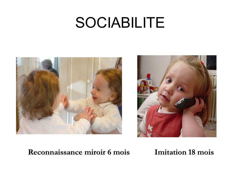 SOCIABILITE Imitation 18 mois Reconnaissance miroir 6 mois