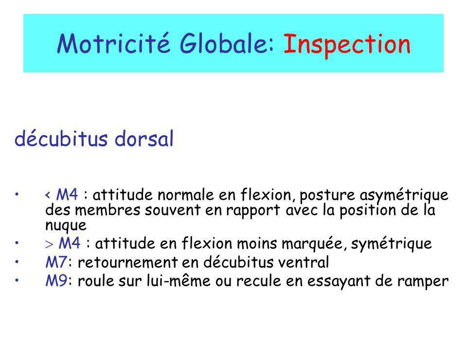Motricité Globale: Inspection décubitus dorsal < M4 : attitude normale en flexion, posture asymétrique des membres souvent en rapport avec la position