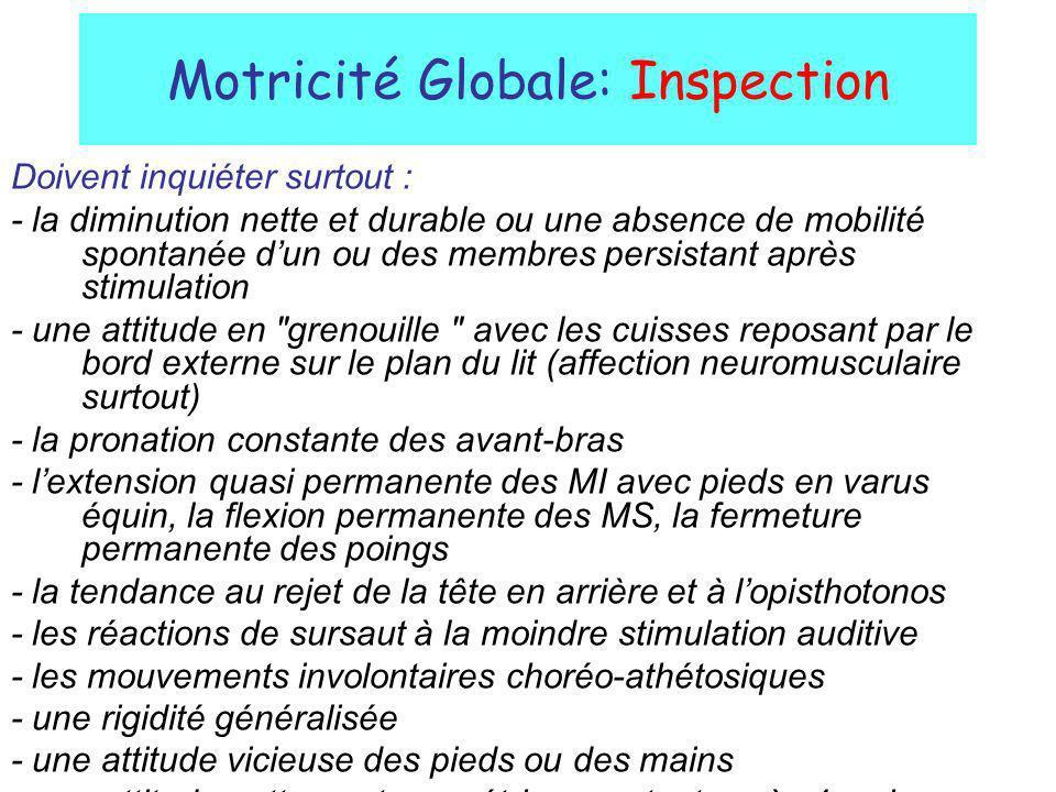 Motricité Globale: Inspection Doivent inquiéter surtout : - la diminution nette et durable ou une absence de mobilité spontanée dun ou des membres per
