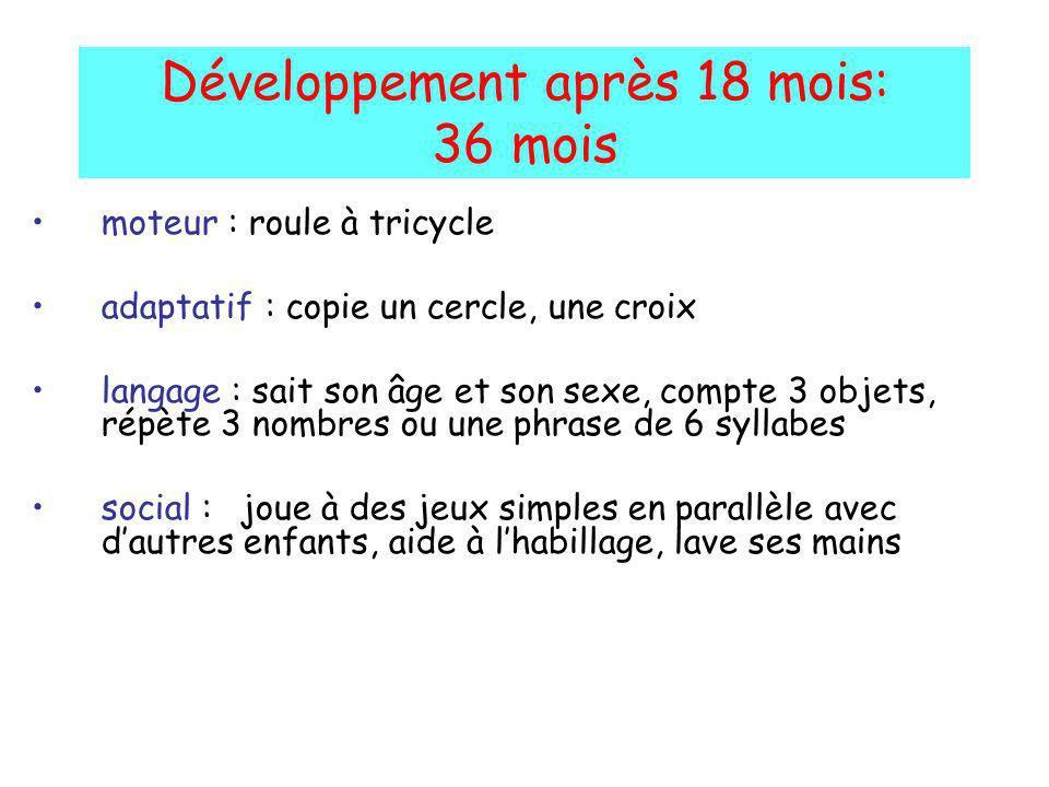 Développement après 18 mois: 36 mois moteur : roule à tricycle adaptatif : copie un cercle, une croix langage : sait son âge et son sexe, compte 3 obj