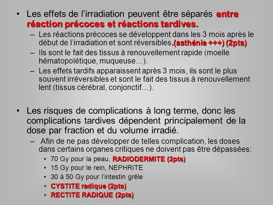 entre réaction précoces et réactions tardives.Les effets de lirradiation peuvent être séparés entre réaction précoces et réactions tardives..(asthénie