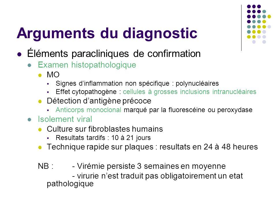 Arguments du diagnostic Éléments paracliniques de confirmation Examen histopathologique MO Signes dinflammation non spécifique : polynucléaires Effet
