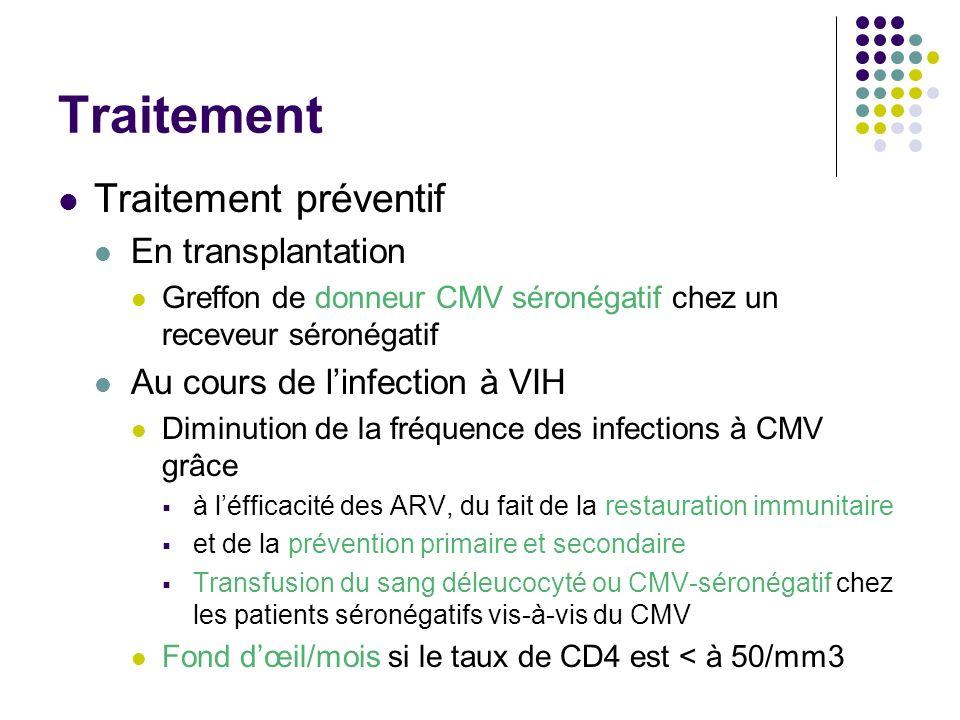 Traitement Traitement préventif En transplantation Greffon de donneur CMV séronégatif chez un receveur séronégatif Au cours de linfection à VIH Diminu