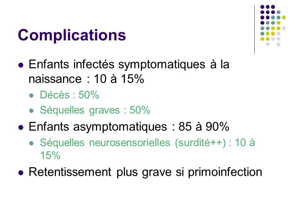 Complications Enfants infectés symptomatiques à la naissance : 10 à 15% Décès : 50% Séquelles graves : 50% Enfants asymptomatiques : 85 à 90% Séquelle