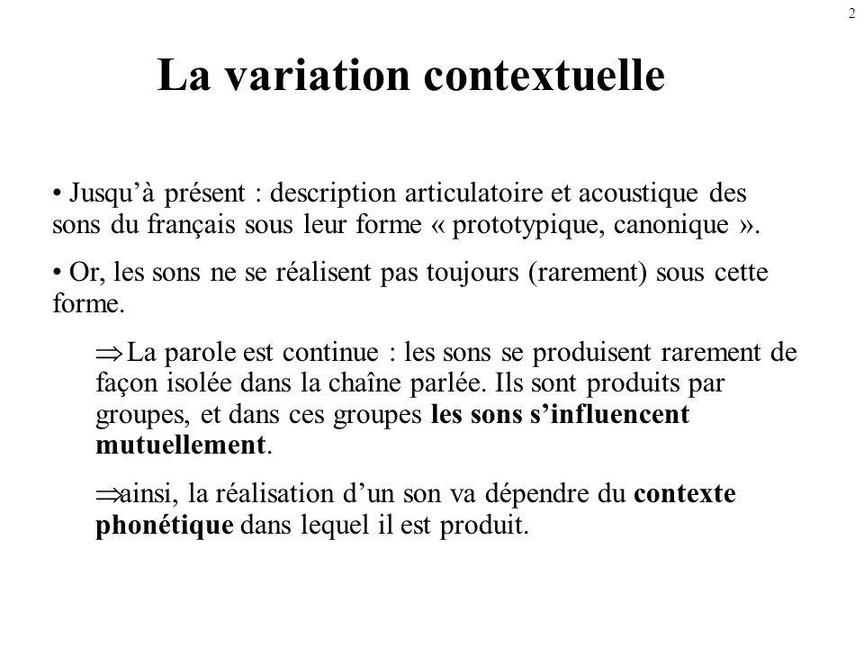 1 Les variations dans la parole continue La variation contextuelle, la coarticulation Autres facteurs de variation Description des variantes –Variante