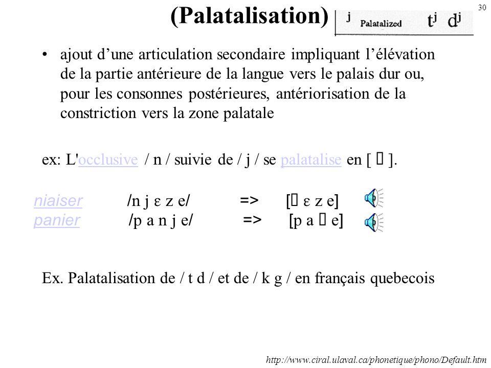 29 Exple: Antériorisation de / / et de / / en français quebecois enfantenfant / / => [ ] ou [ f ] Symboles phonétiques Pour rendre cette réalisation a