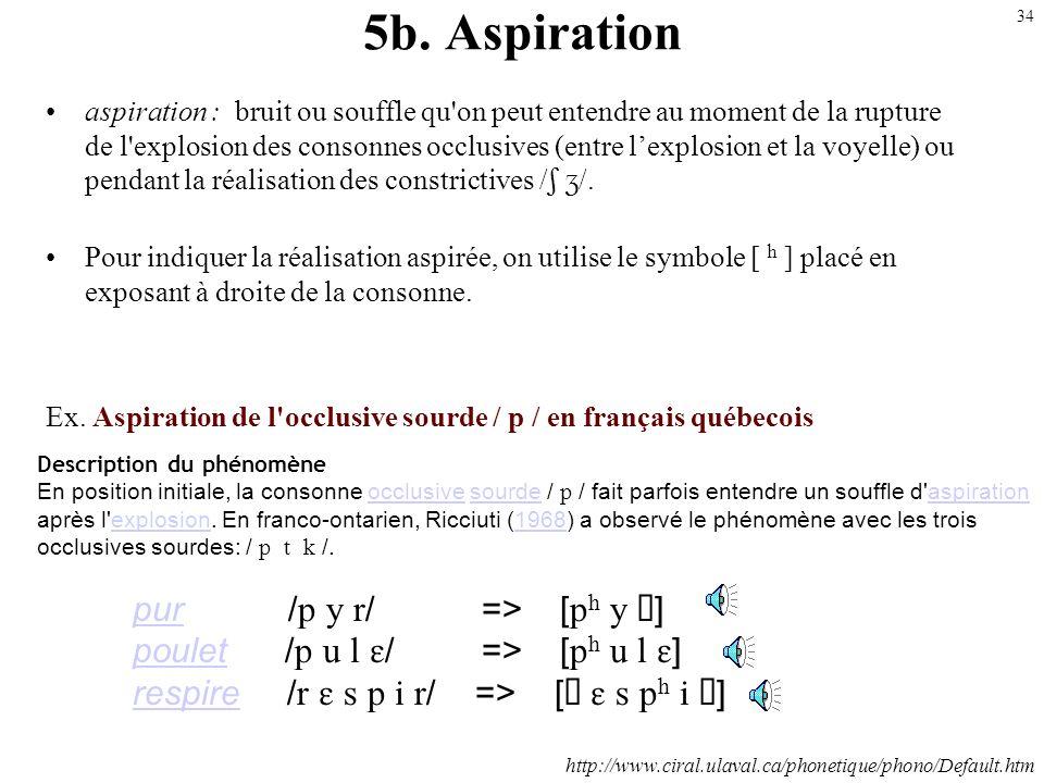 33 5a. Africation (assibilation) Désigne un processus par lequel des occlusives sont produites avec un bruit de friction au relachement (entre lexplos