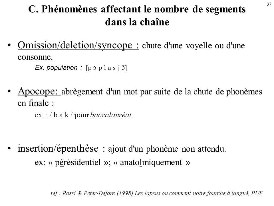 36 linterversion et la méthatèse –linterversion (en contact) : « aréodrome » ; ks>sk astérix- astérisque (cas phonologisé : fromage vient de formaticu