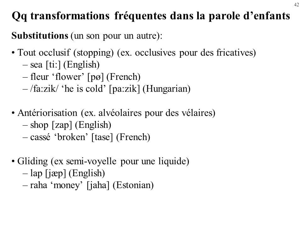 41 Exple déletion: Réduction du groupe consonantique final Description du phénomène En finale de mot, les groupes de deux ou plusieurs consonnes se si
