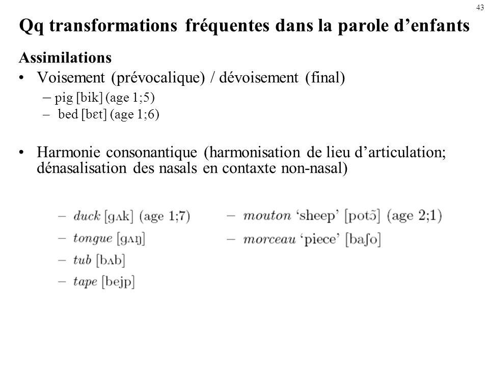 42 Qq transformations fréquentes dans la parole denfants Substitutions (un son pour un autre): Tout occlusif (stopping) (ex. occlusives pour des frica