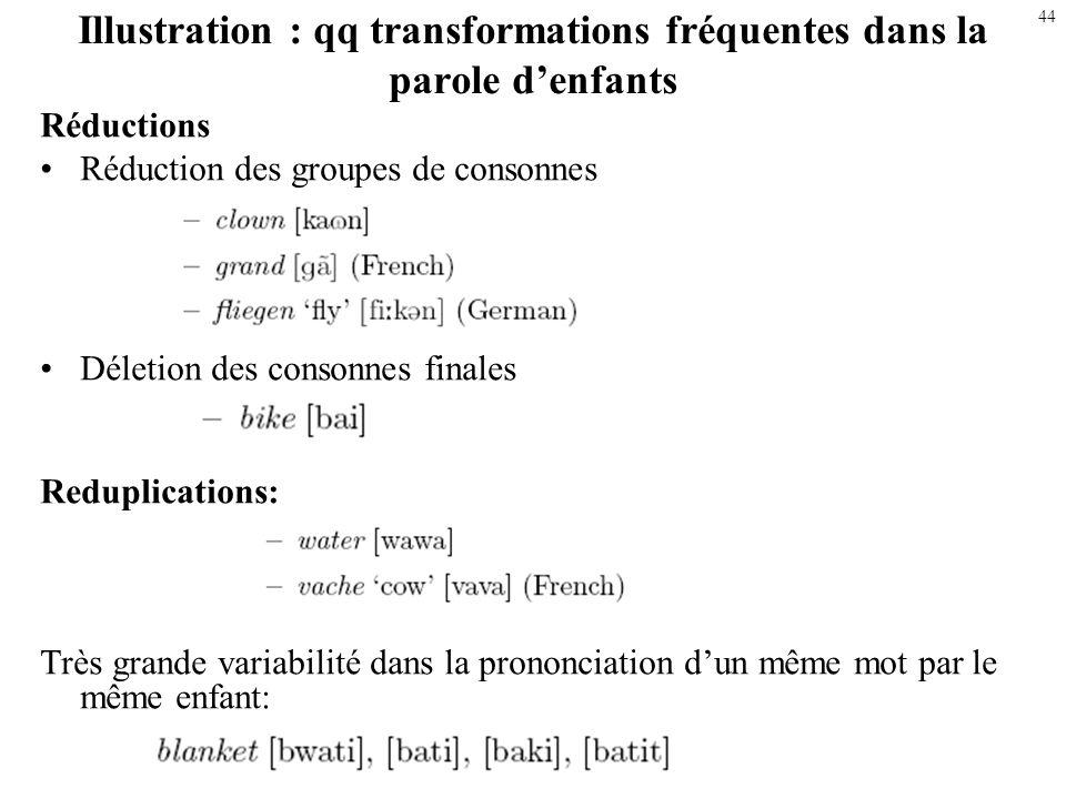 43 Qq transformations fréquentes dans la parole denfants Assimilations Voisement (prévocalique) / dévoisement (final) – pig [bik] (age 1;5) –bed [b t]