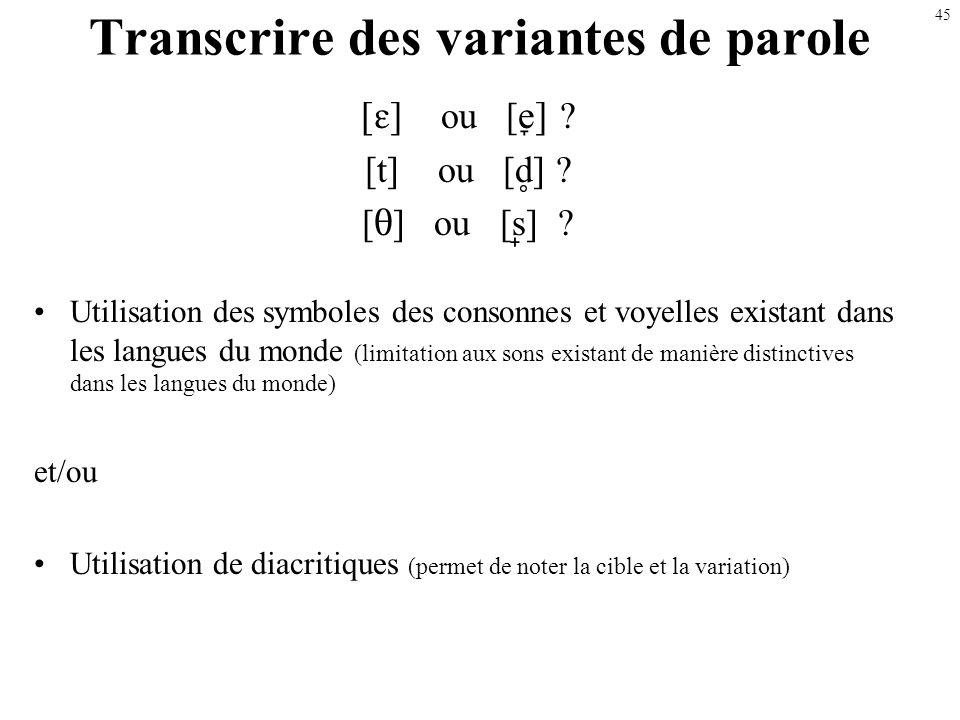 44 Illustration : qq transformations fréquentes dans la parole denfants Réductions Réduction des groupes de consonnes Déletion des consonnes finales R