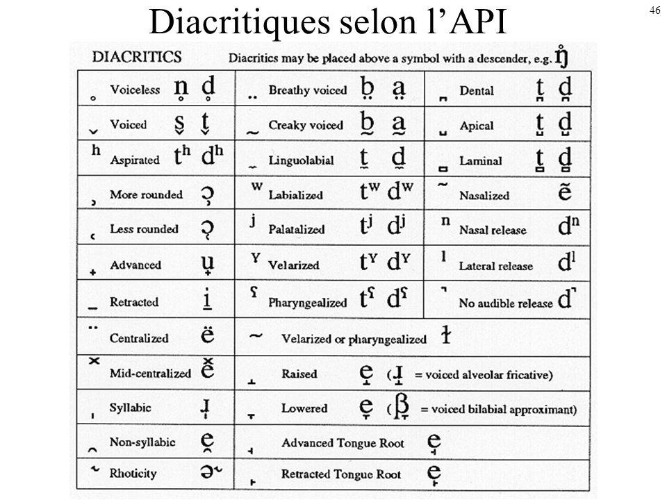 45 Transcrire des variantes de parole ou [ ? [t] ou [d ] ? [ ] ou [s ] ? Utilisation des symboles des consonnes et voyelles existant dans les langues