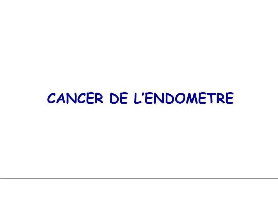 CANCER DE LENDOMETRE Chirurgie : HT extrafasciale + AB (laparo ou VB coelio) curages pelviens Radiothérapie : curiethérapie vaginale radiothérapie externe 45 Gy pelvienn + GG Chimiothérapie : +/- mais hormonothérapie (Pg) Surveillance