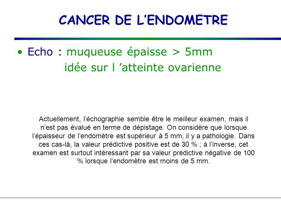 CANCER DE LENDOMETRE Echo : muqueuse épaisse > 5mm idée sur l atteinte ovarienne Actuellement, léchographie semble être le meilleur examen, mais il ne
