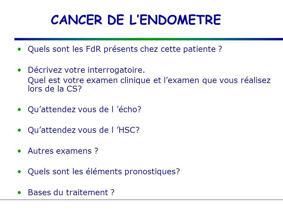 CANCER DE LENDOMETRE Quels sont les FdR présents chez cette patiente ? Décrivez votre interrogatoire. Quel est votre examen clinique et lexamen que vo
