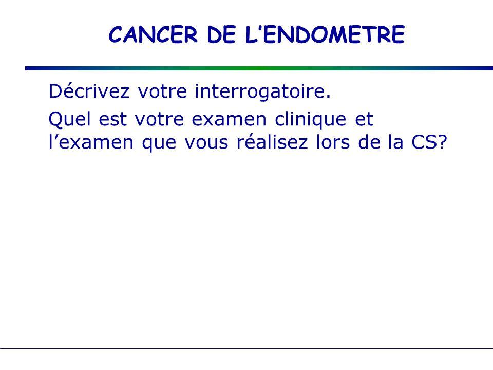 CANCER DE LENDOMETRE Interro =bilan des Fdr métrorragies : type, chronologie autres SF : leucorrhées, pyométrie, pesanteur, SFU SF digestifs