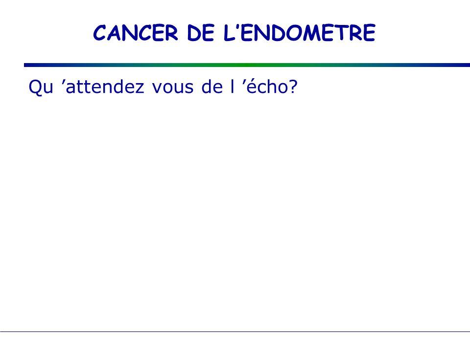 CANCER DE LENDOMETRE Echo : muqueuse épaisse > 5mm idée sur l atteinte ovarienne Actuellement, léchographie semble être le meilleur examen, mais il nest pas évalué en terme de dépistage.