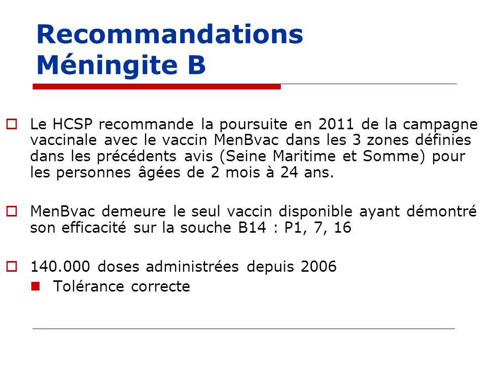 Recommandations Méningite B Le HCSP recommande la poursuite en 2011 de la campagne vaccinale avec le vaccin MenBvac dans les 3 zones définies dans les