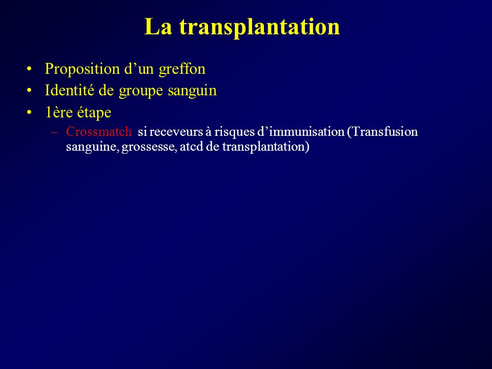 La transplantation Proposition dun greffon Identité de groupe sanguin 1ère étape –Crossmatch si receveurs à risques dimmunisation (Transfusion sanguin