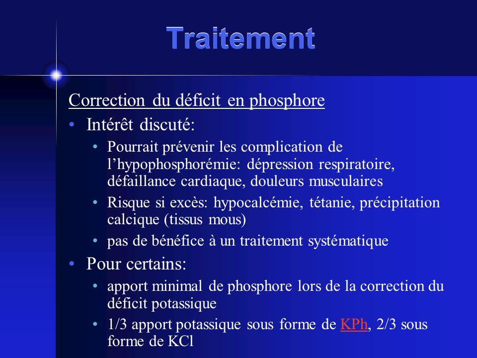 Traitement Correction du déficit en phosphore Intérêt discuté: Pourrait prévenir les complication de lhypophosphorémie: dépression respiratoire, défai