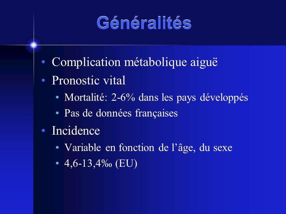 Généralités Complication métabolique aiguë Pronostic vital Mortalité: 2-6% dans les pays développés Pas de données françaises Incidence Variable en fo