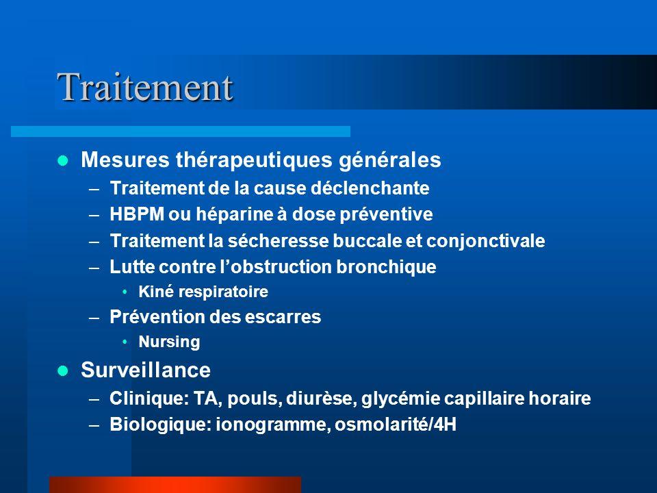 Traitement Mesures thérapeutiques générales –Traitement de la cause déclenchante –HBPM ou héparine à dose préventive –Traitement la sécheresse buccale