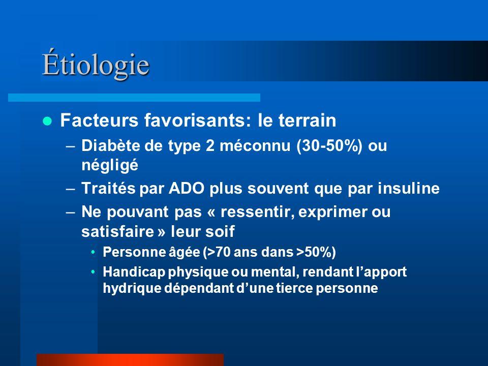 Étiologie Facteurs favorisants: le terrain –Diabète de type 2 méconnu (30-50%) ou négligé –Traités par ADO plus souvent que par insuline –Ne pouvant p