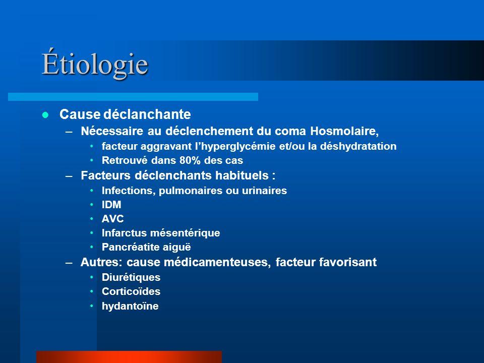 Étiologie Cause déclanchante –Nécessaire au déclenchement du coma Hosmolaire, facteur aggravant lhyperglycémie et/ou la déshydratation Retrouvé dans 8
