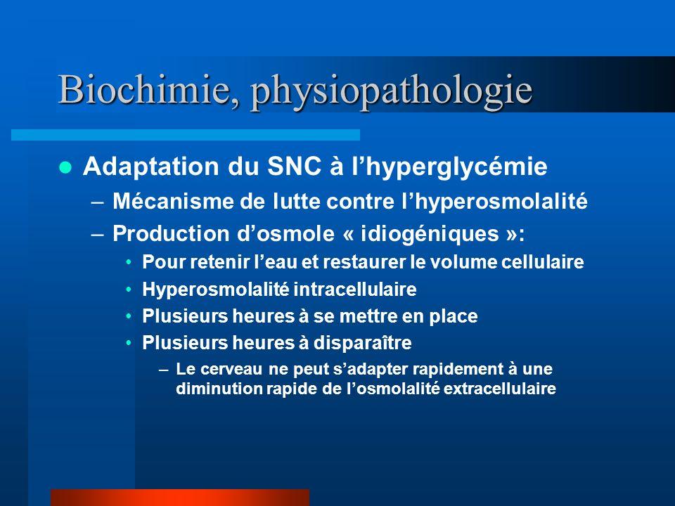 Biochimie, physiopathologie Adaptation du SNC à lhyperglycémie –Mécanisme de lutte contre lhyperosmolalité –Production dosmole « idiogéniques »: Pour