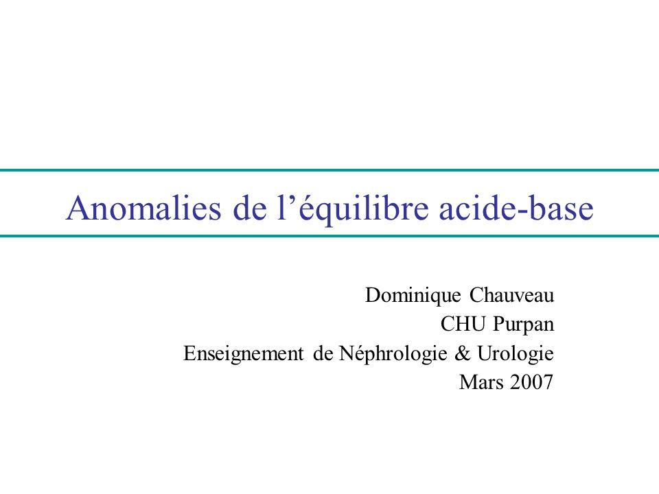 Trou anionique urinaire (TAu) Le TAu reflète lammoniurie, principal mode délimination rénale des protons H + TAu = Na U + K U - Cl U Signification : TAu > O : excrétion urinaire de NH4 + basse : réponse rénale inadaptée, AM dorigine rénale tubulaire TAu < O : excrétion urinaire de NH4 + élevée : réponse rénale adaptée, AM dorigine extra-rénale