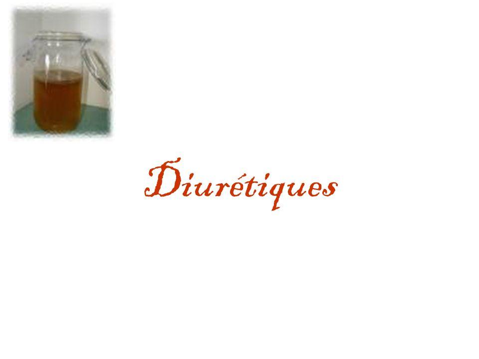 Diurétiques = Action aquarétique natriurétique Action au niveau des segments du tube – TCP : inhibiteurs de lAC, agents osmotiques – Anse de Henlé : diurétiques de lanse – TCD : thiazidiques – T collecteur: antialdostérone,amiloride, triamtérène