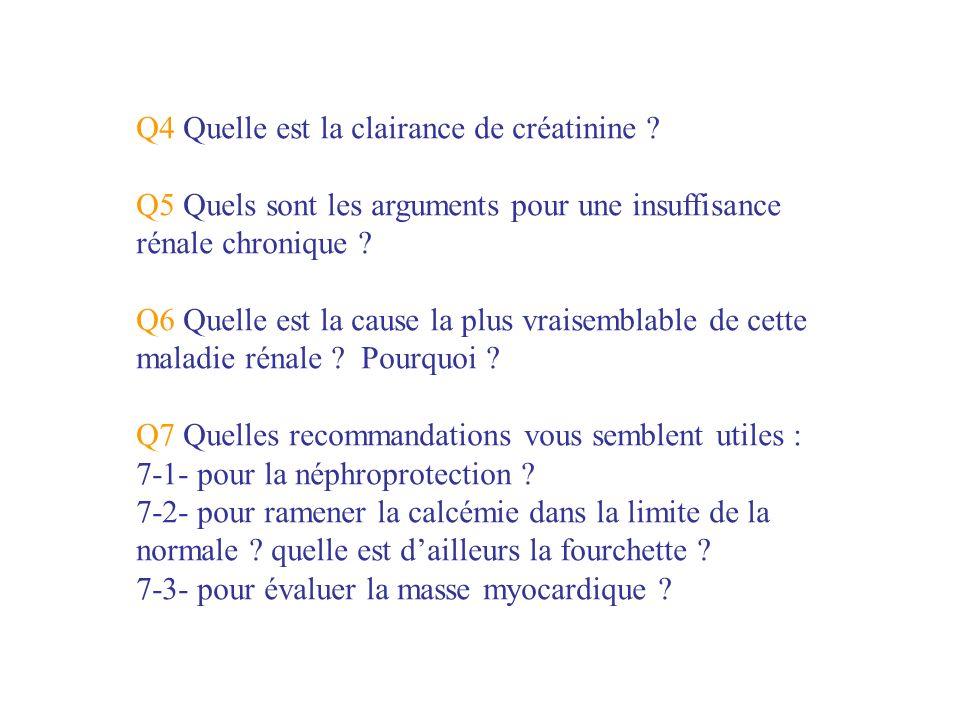 Q4 Quelle est la clairance de créatinine ? Q5 Quels sont les arguments pour une insuffisance rénale chronique ? Q6 Quelle est la cause la plus vraisem