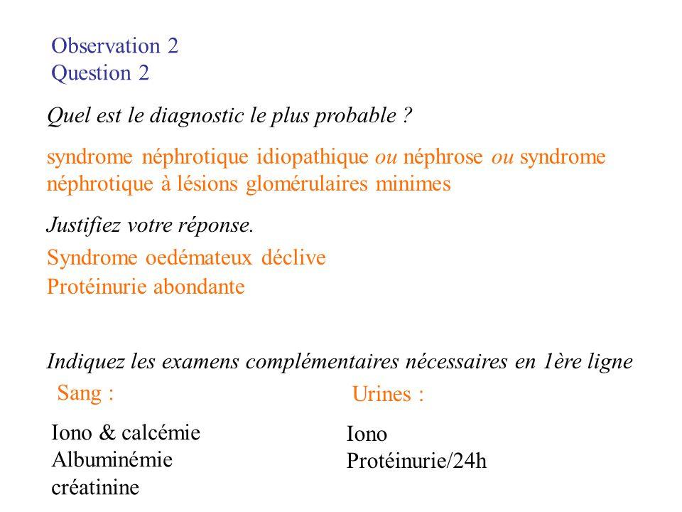 Observation 2 Question 2 Quel est le diagnostic le plus probable ? syndrome néphrotique idiopathique ou néphrose ou syndrome néphrotique à lésions glo