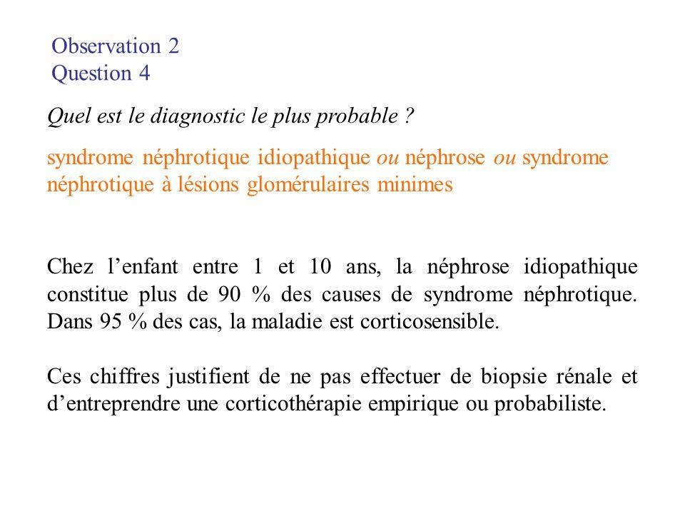 Observation 2 Question 4 Quel est le diagnostic le plus probable ? syndrome néphrotique idiopathique ou néphrose ou syndrome néphrotique à lésions glo