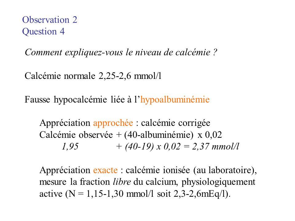 Observation 2 Question 4 Comment expliquez-vous le niveau de calcémie ? Calcémie normale 2,25-2,6 mmol/l Fausse hypocalcémie liée à lhypoalbuminémie A