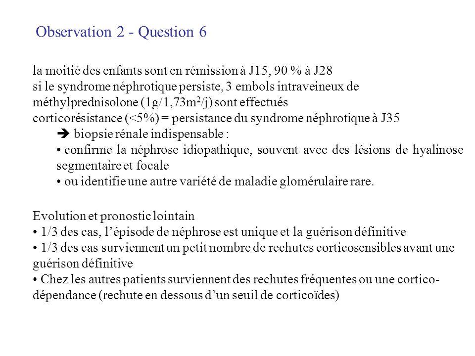 Observation 2 - Question 6 la moitié des enfants sont en rémission à J15, 90 % à J28 si le syndrome néphrotique persiste, 3 embols intraveineux de mét