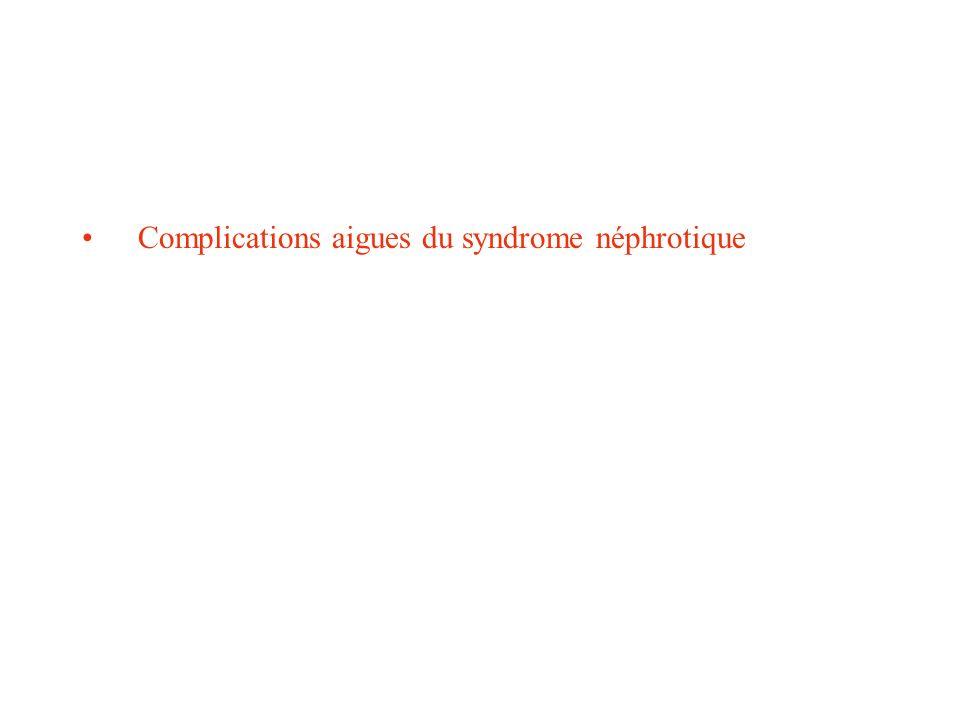 Complications aigues du syndrome néphrotique