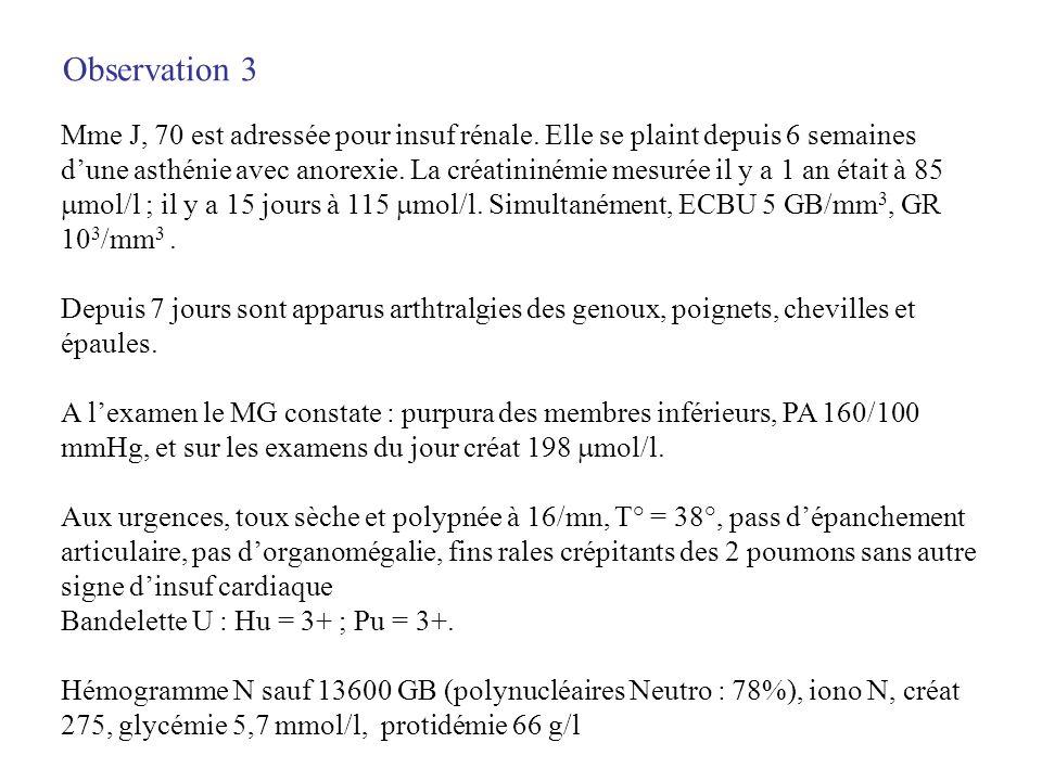 Observation 3 Mme J, 70 est adressée pour insuf rénale. Elle se plaint depuis 6 semaines dune asthénie avec anorexie. La créatininémie mesurée il y a