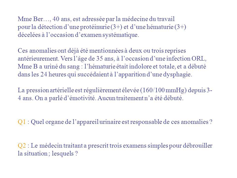 Q1 Une maladie rénale glomérulaire, autrement dit, une glomérulonéphrite Q2 Les petits outils du néphrologue créatinine protéinurie/24 heures écho rénale