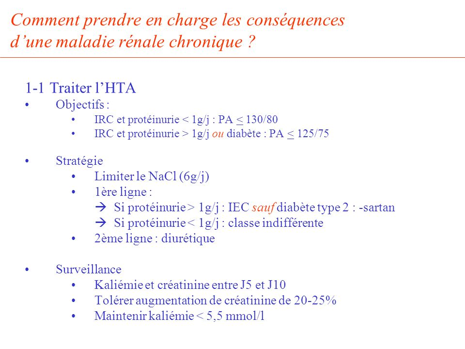 Comment prendre en charge les conséquences dune maladie rénale chronique ? 1-1 Traiter lHTA Objectifs : IRC et protéinurie < 1g/j : PA < 130/80 IRC et