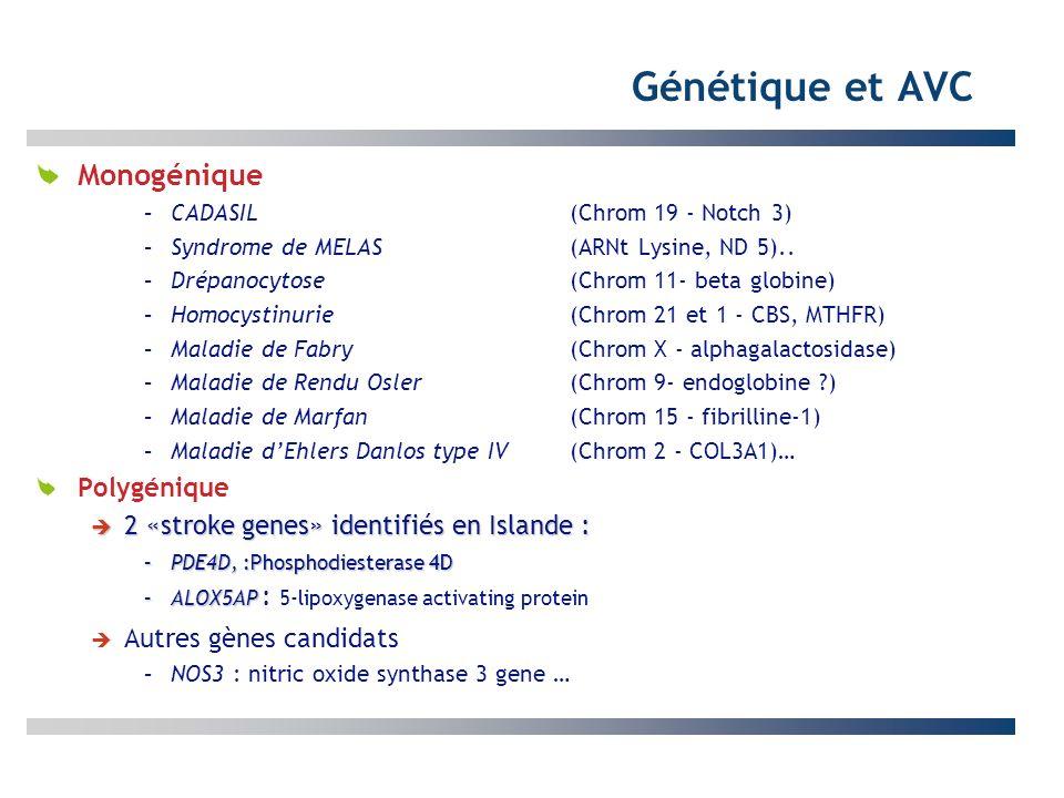 Génétique et AVC Monogénique –CADASIL (Chrom 19 - Notch 3) –Syndrome de MELAS (ARNt Lysine, ND 5).. –Drépanocytose (Chrom 11- beta globine) –Homocysti