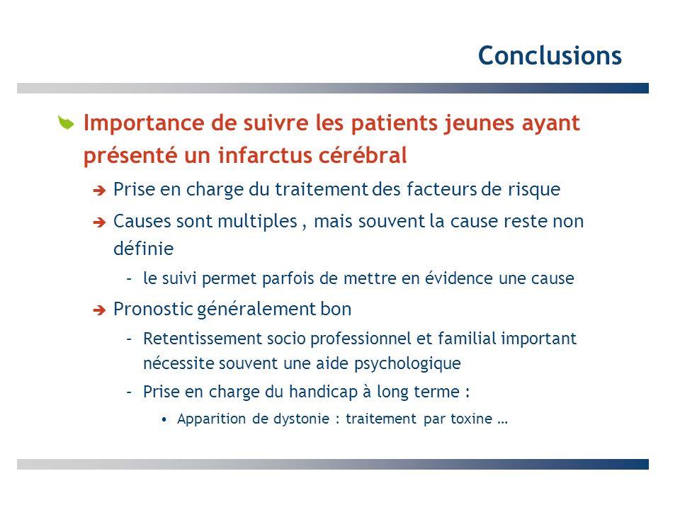 Conclusions Importance de suivre les patients jeunes ayant présenté un infarctus cérébral Prise en charge du traitement des facteurs de risque Causes