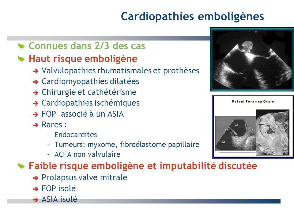 Cardiopathies emboligènes Connues dans 2/3 des cas Haut risque emboligène Valvulopathies rhumatismales et prothèses Cardiomyopathies dilatées Chirurgi
