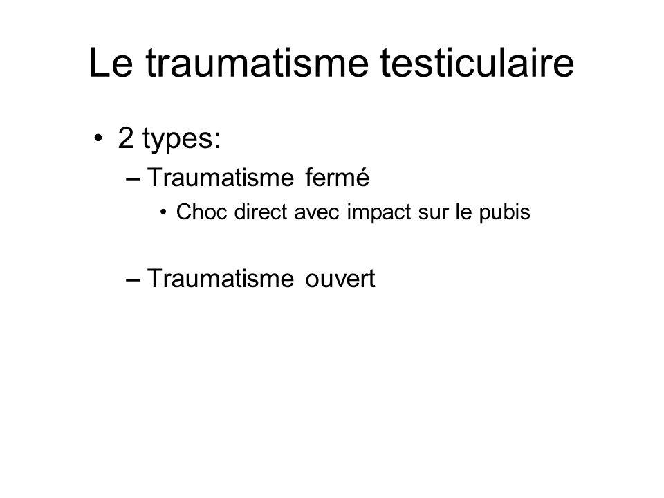 Le traumatisme testiculaire 2 types: –Traumatisme fermé Choc direct avec impact sur le pubis –Traumatisme ouvert