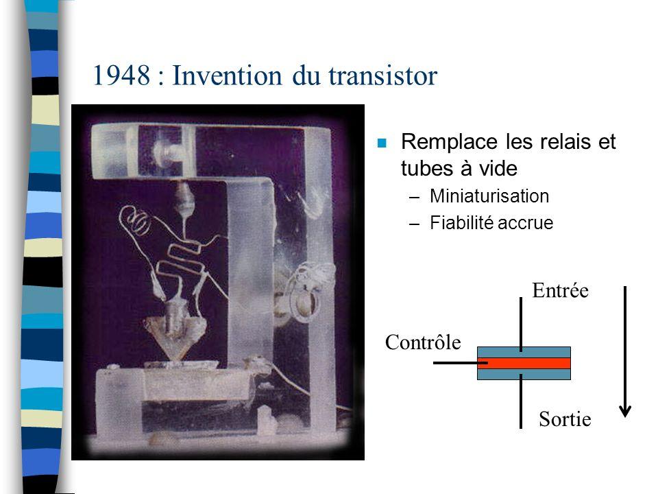 1948 : Invention du transistor n Remplace les relais et tubes à vide –Miniaturisation –Fiabilité accrue Entrée Contrôle Sortie