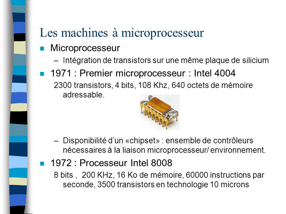 Les machines à microprocesseur n Microprocesseur –Intégration de transistors sur une même plaque de silicium n 1971 : Premier microprocesseur : Intel 4004 2300 transistors, 4 bits, 108 Khz, 640 octets de mémoire adressable.