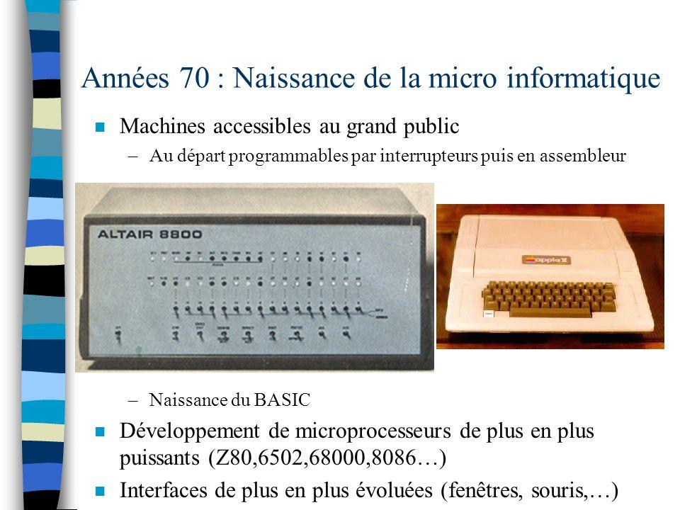 Années 70 : Naissance de la micro informatique n Machines accessibles au grand public –Au départ programmables par interrupteurs puis en assembleur –Naissance du BASIC n Développement de microprocesseurs de plus en plus puissants (Z80,6502,68000,8086…) n Interfaces de plus en plus évoluées (fenêtres, souris,…)