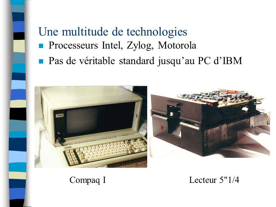 Une multitude de technologies n Processeurs Intel, Zylog, Motorola n Pas de véritable standard jusquau PC dIBM Compaq ILecteur 5 1/4