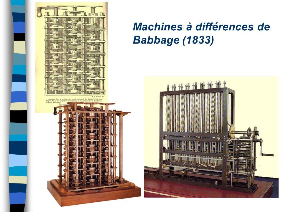 Machines à différences de Babbage (1833)